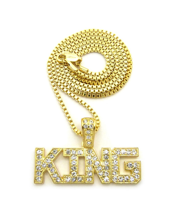 Men's Hip Hop King Diamond Cz Bling Pendant