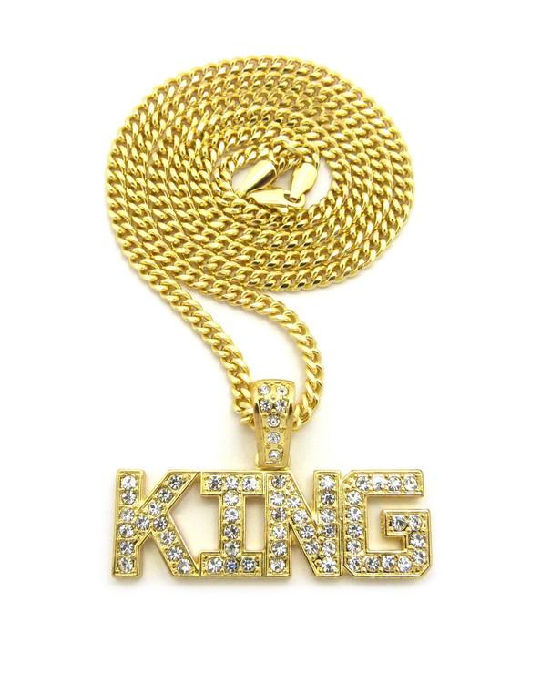 14k Gold Hip Hop King Diamond Cz Bling Pendant Cuban Chain