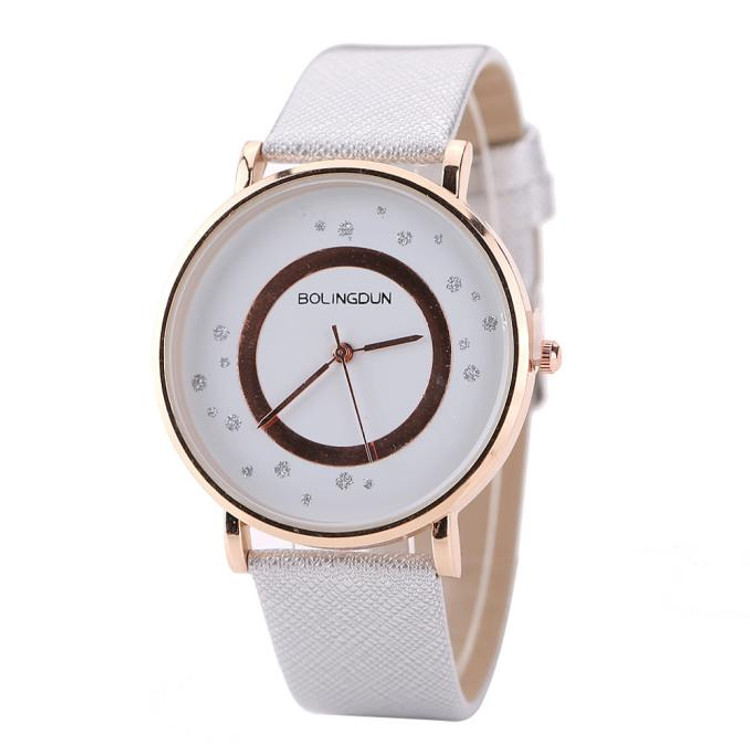 Woman Touch of Rose Leather Quartz Wrist  Watch