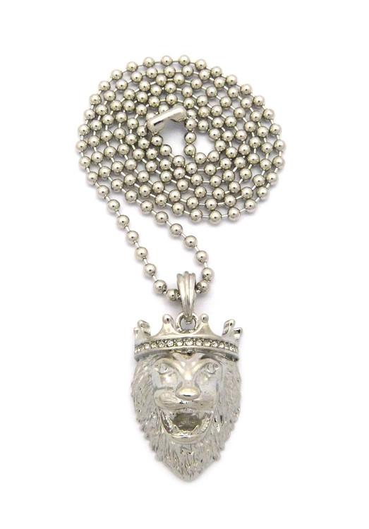 Mens Diamond Cz Crown Lion Of Judah Chain Silver
