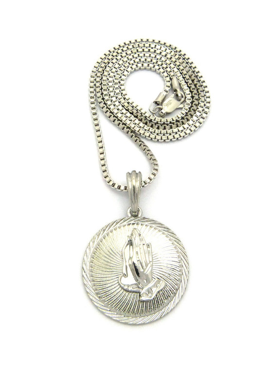 Power Of Prayer Box Chain Pendant Rhodium Silver