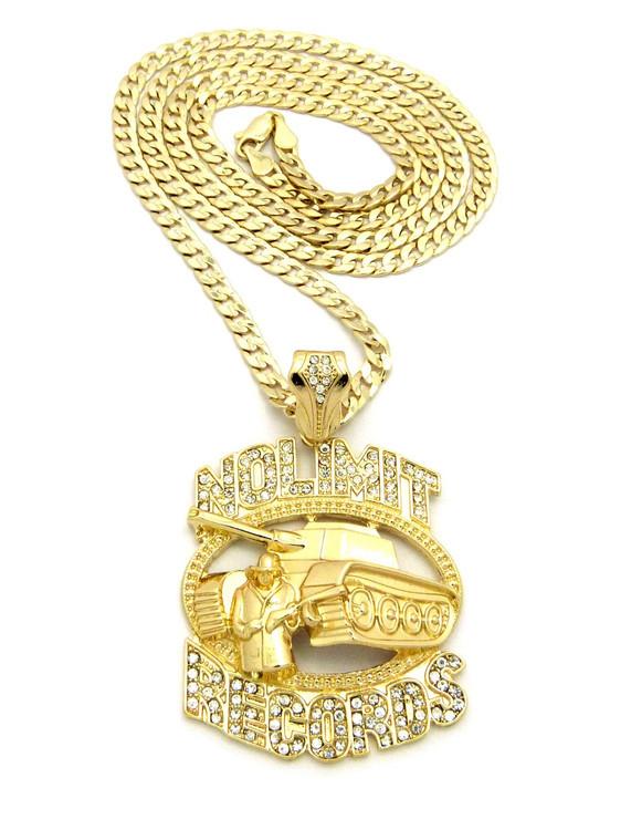 No Limit Inspired Diamond Cut Cuban Chain Pendant Gold
