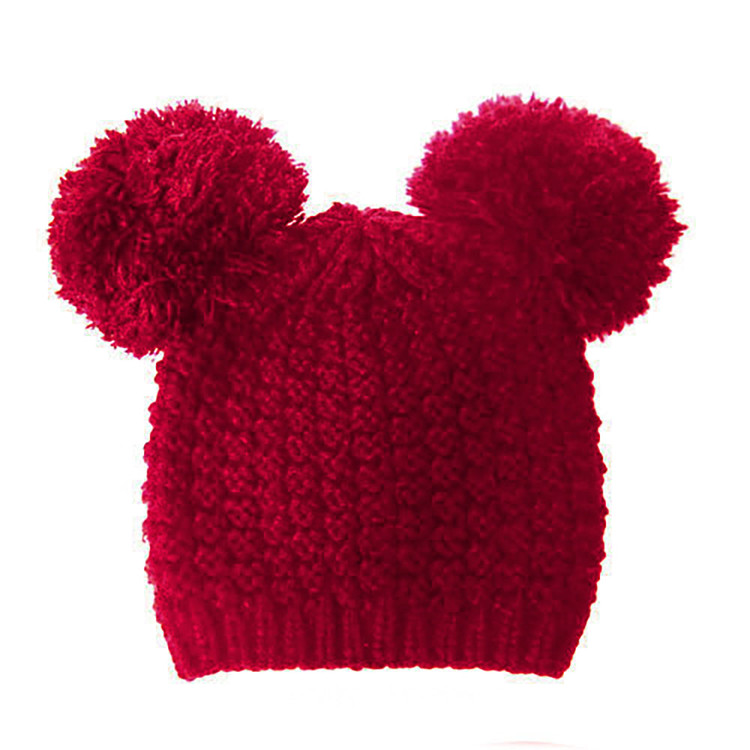 Fuzzy Cat Mouse Pom Pom Ball Beanie Hat Red Burgandy