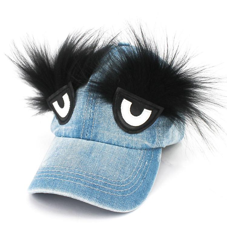 Denim Hat w/ Eyes and Eyebrows