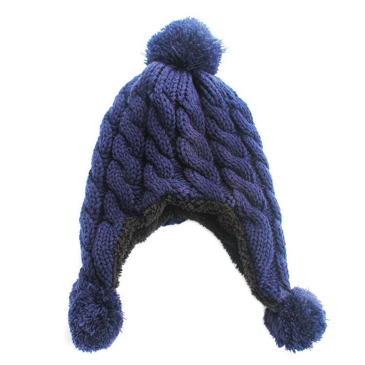 Knitted Trapper Aviator Hat Blue