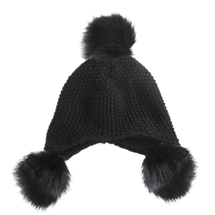 Pom Pom Ball Knitted Trapper Aviator Hat Black