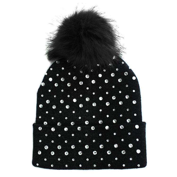 Rhinestone Fashion Stylish Pom Pom Ball Beanie Hat Black