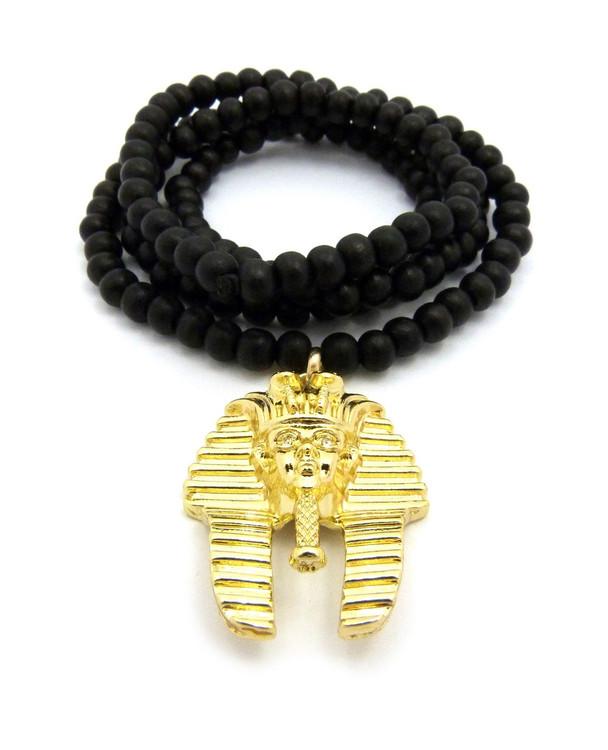 Egyptian Pharaoh King Tut Pendant Gold Beaded Chain
