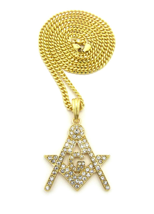 14k Gold Square and Compass Iced Out Mason Pendant