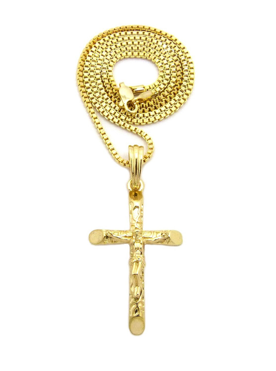 Jesus Take Up Your Cross Log Pendant Box Chain Gold