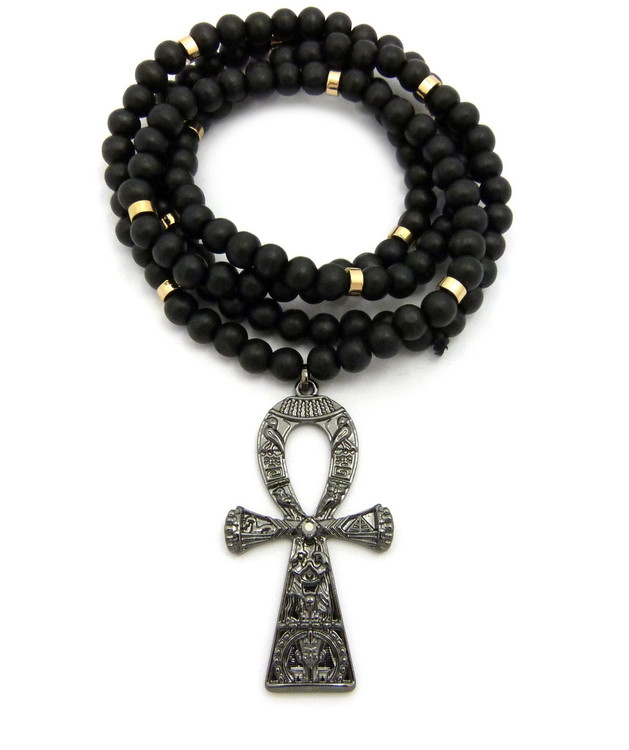 Egyptian Hieroglyphics Ankh Cross Pendant Black Hematite