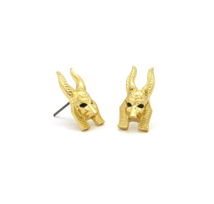 Egyptian God Anibis Hop Hop Earrings Gold