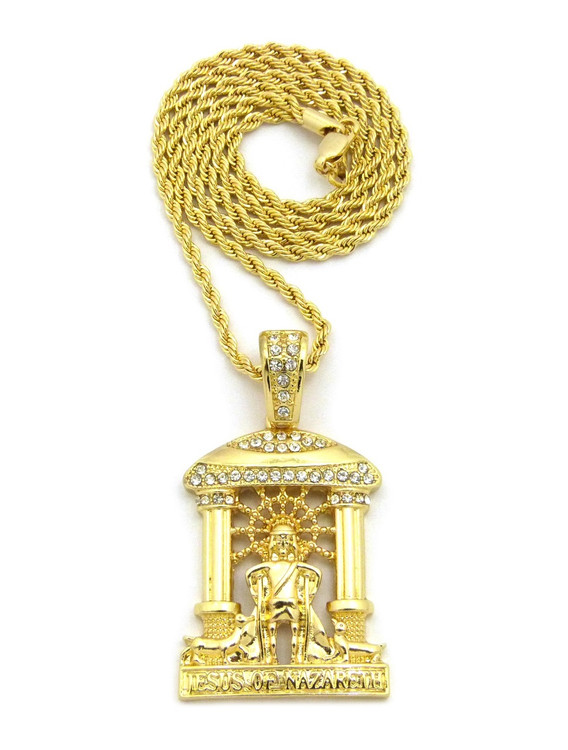14k Gold Jesus Of Nazareth Cathedral Pendant Rope Chain