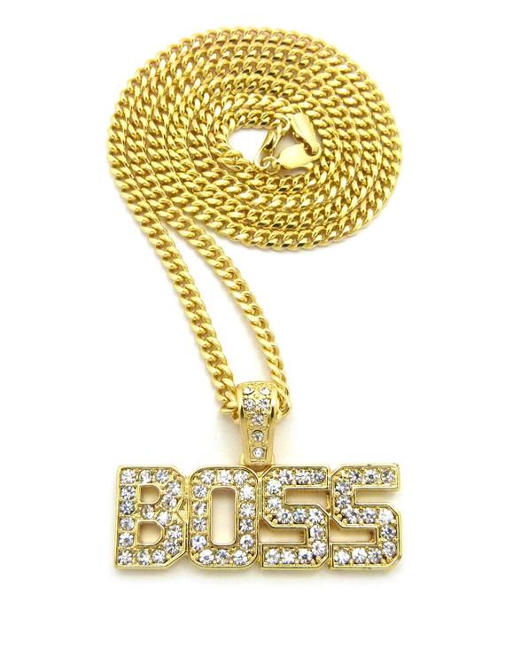 14k Gold Iced Out Diamond Cz BOSS Pendant Cuban Chain