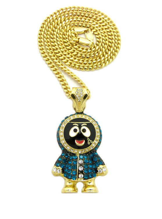 14k Gold Iced Out Kenny Inspired Pendant Cuban Link Chain