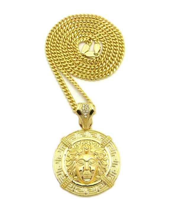 Iced Out Medusa Illuminati Medallion Cuban Link Chain
