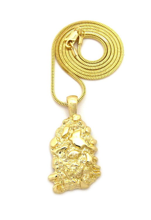 14k Gold Hip Hop Gold Nugget Pendant Snake Link Chain