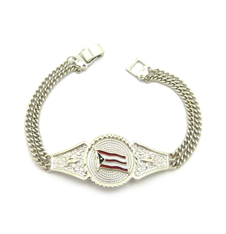 Puerto Rico Flag Cuban Link Bracelet Rhodium Silver