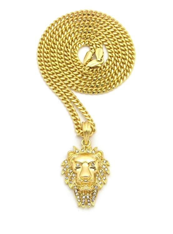 Lion Of Judah Wrath Pendant Cuban Chain Necklace 14k Gold