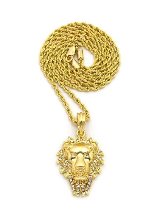 Lion Of Judah Wrath Pendant Rope Chain Necklace 14k Gold