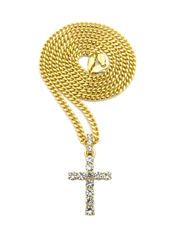 All Stone Iced Out Cross Pendant
