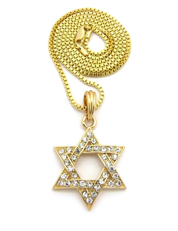 Star Of David Diamond Cz Pendant Box Chain 14k Gold