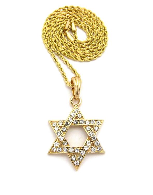 Star Of David Diamond Cz Pendant Rope Chain 14k Gold