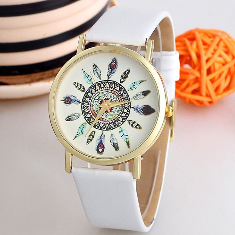 Vintage Feather Dial Leather Band Statement Wrist Watches