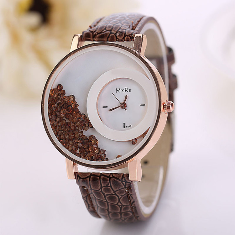 Woman Leather Quicksand Rhinestone Iced Out Watch