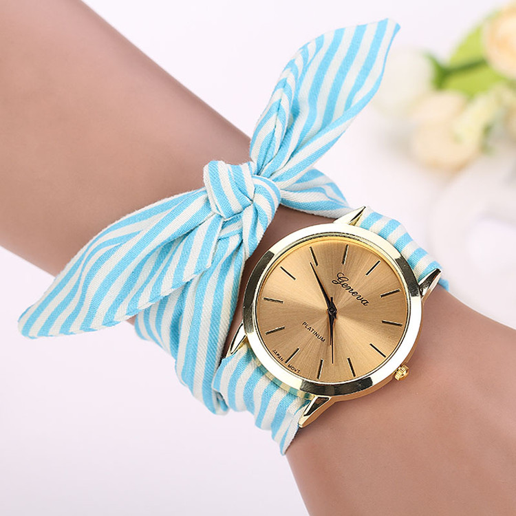Fashion Gals Stripe Floral Cloth Bracelet Wrist Watch