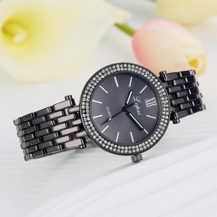 Women Simulated Diamond Double Row Bling Watch Black