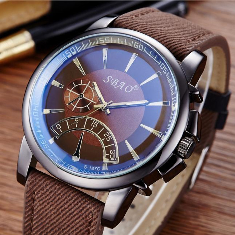 New Fashion Men's Leather Band Stainless Steel Watch
