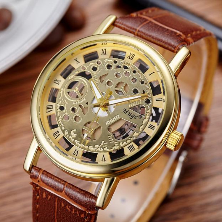 Men's Double-Sided Hollow Mechanical Casual Business Watch