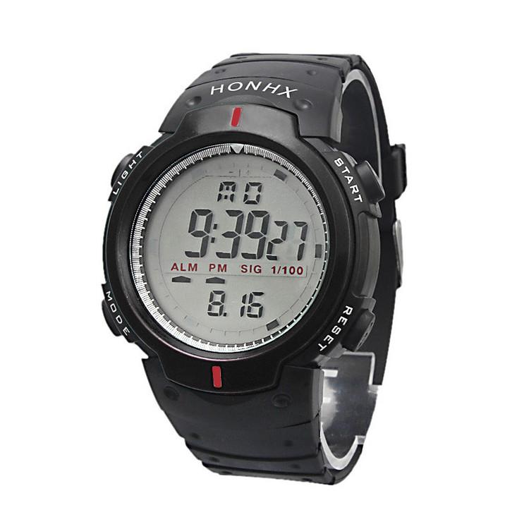 Waterproof Outdoor Sports Mens Digital LED Quartz Alarm Wrist Watch