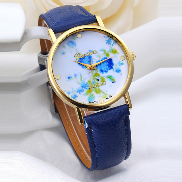 Ladies Fashion Blue Rose Dial Leather Band Quartz Analog Wrist Watches Watch