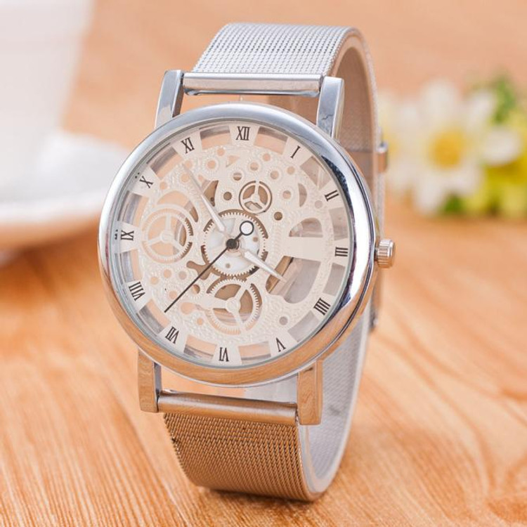 Neutral Leisure Time Faux Steel Ribbon Analog Simple Clock Dial Wrist Watch