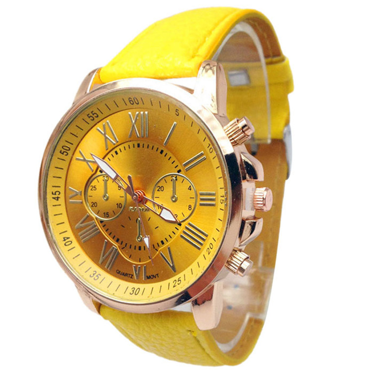 Women's Stylish Numerals Candy Leather Analog Wrist Watch