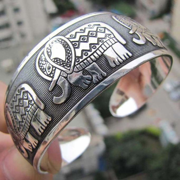 Tibetan Totem Bangle Retro Cuff Wide Bracelet