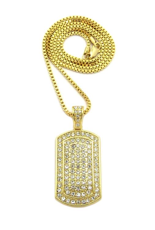 Diamond Cz Ice Dog Tag Pendant Box Chain Necklace Gold