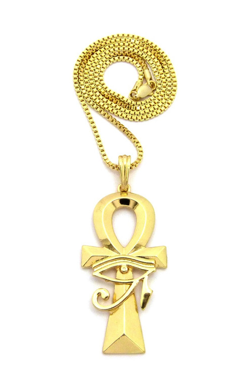Eye Of Ra Over Ankh Cross African Egyptian Box Chain Pendant Gold