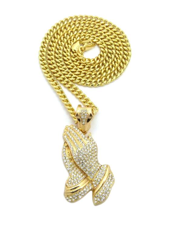 Classic Ice Prayer Hands Hip Hop Pendant 14k Gold