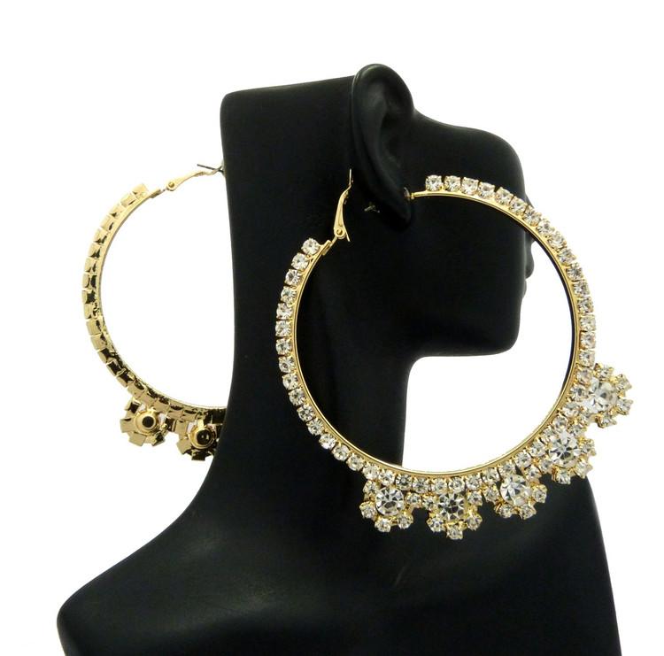Ladies Big Hoop Iced Rhinestone Earrings Gold