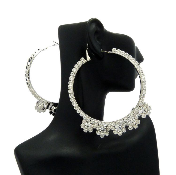 Ladies Big Hoop Iced Rhinestone Earrings Silver