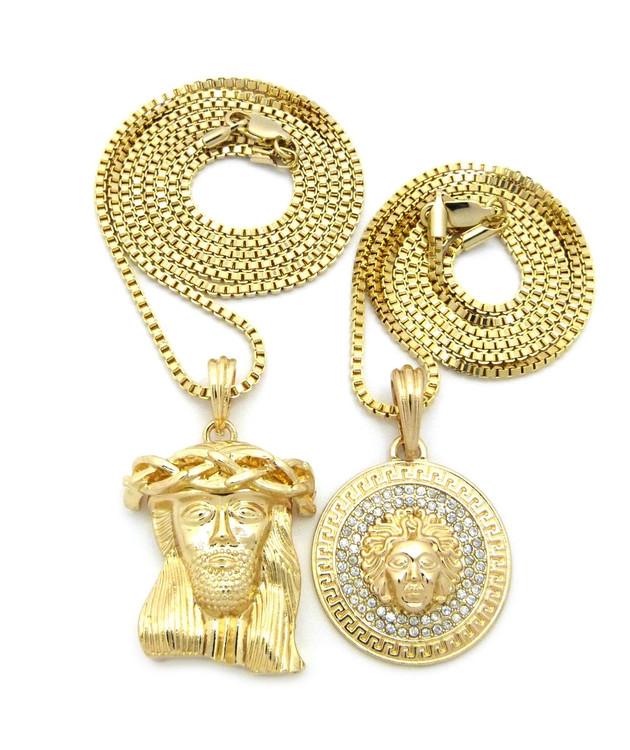 Good Evil Jesus Medusa Piece Hip Hop Pendant 14k Gold