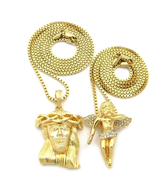 Kings Crown Jesus Piece Pendant Cherub Set 14k Gold