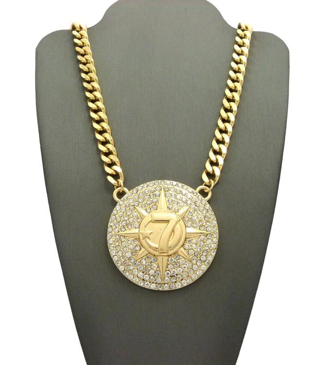 Ladies 5 Percenter 7 Star Hip Hop Pendant Necklace Gold