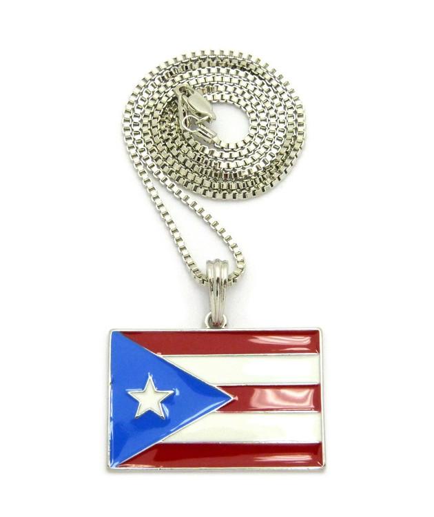 Puerto Rico Flag Pendant Box Chain Rhodium Silver
