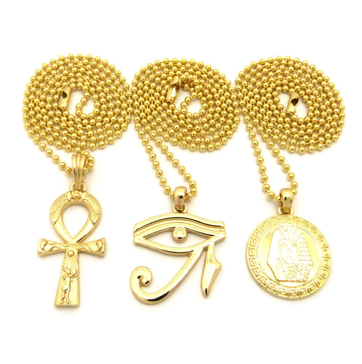 14k Gold King Tut Eye Of Heru Ankh Cross Pendant