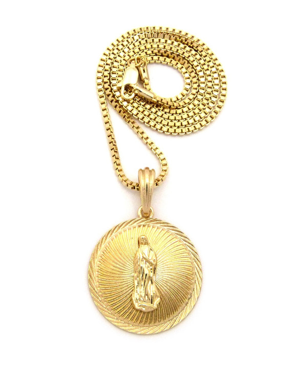 Our Lady of Guadalupe Box Chain Pendant 14k Gold