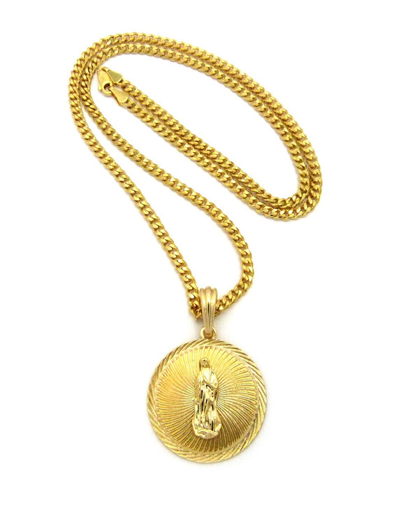 14k Gold Our Lady of Guadalupe Cuban Chain Pendant